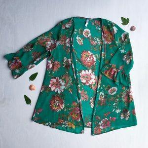 Xhilaration - Floral, Open, Cardigan Cloak